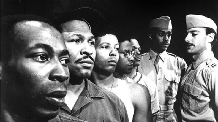 Brent Jennings, Steven Anthony Jones, Eugene Lee, Denzel Washington, Samuel L. Jackson, James Pickens and Peter Friedman in the 1981 Negro Ensemble Company production of A Soldier's Play.