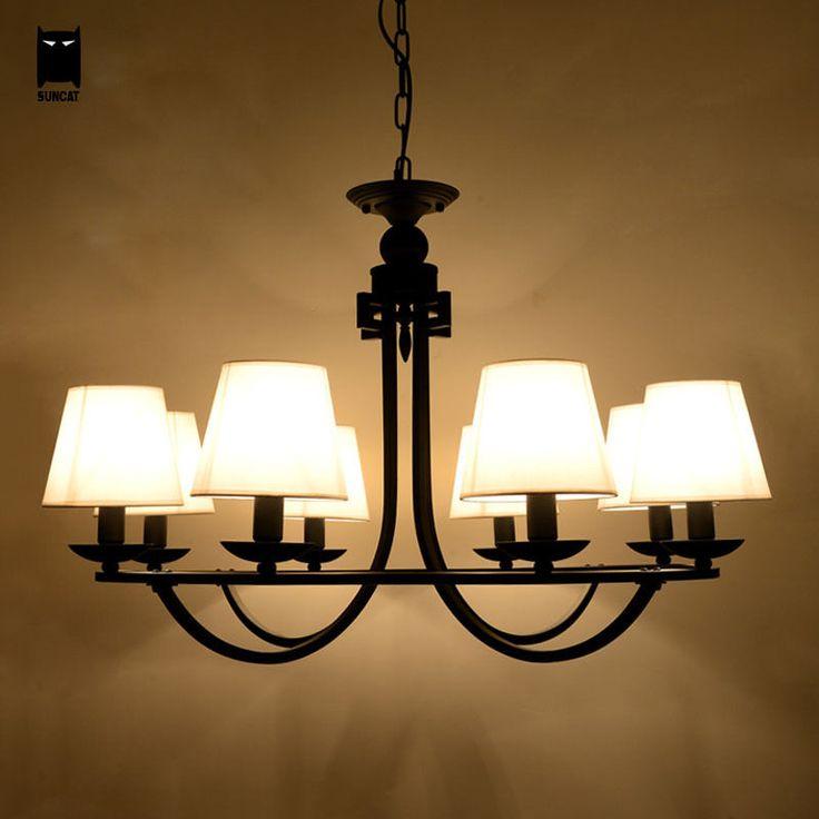 Black Iron Shade Chandelier Ceiling Light Fixture Modern Pendant Lamp Bedroom Soleilchat