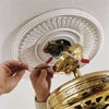 How to install a ceiling fan:  Make the wire connections