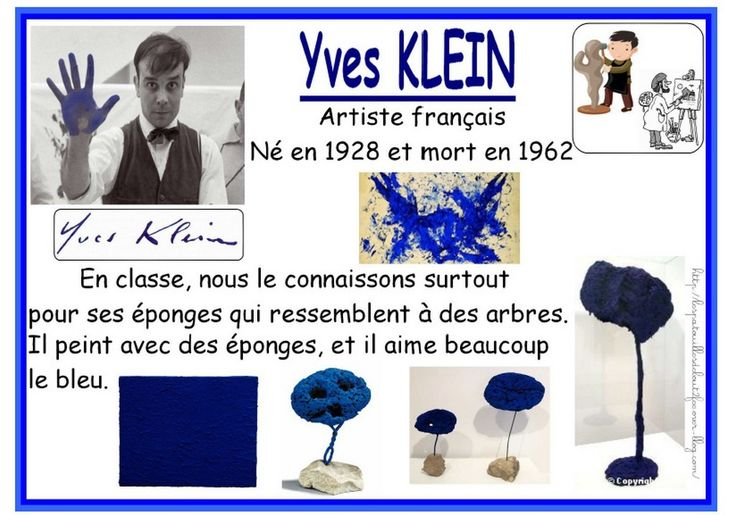 Yves Klein affectionnait le bleu, il a même donné son nom à un bleu : IKB La classe de petite section de ma collègue Béatrice a présenté une oeuvre collective.