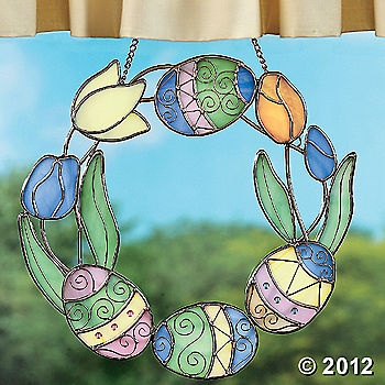 Stained glass easter egg wreath.