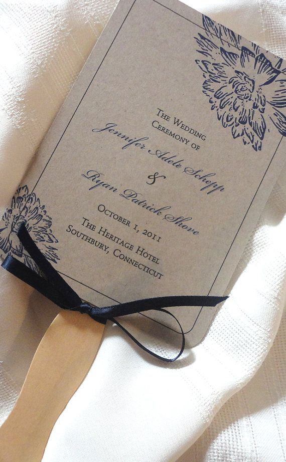 Kraft wedding program fan - flower design - Fan wedding program - Quantity of 100 on Etsy, $225.00