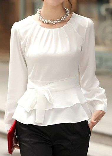 Layered Long Sleeve White Tie Front Blouse.