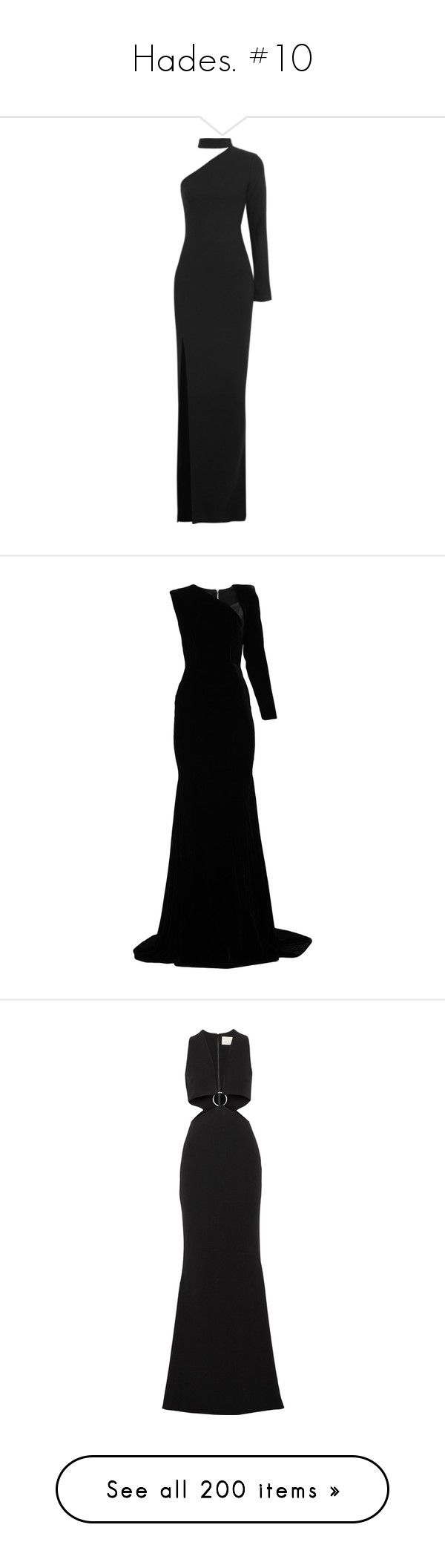 """Hades. #10"" by xiuchen-was-taken ❤ liked on Polyvore featuring dresses, gowns, gown, black, one shoulder evening dresses, single shoulder dress, one shoulder dress, one sleeve gown, one shoulder ball gowns and one shoulder gown"