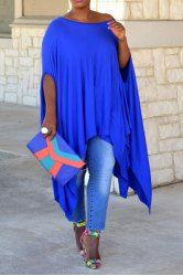 Stylish 1/2 Batwing Sleeve Asymmetric Solid Color Loose Dress For Women (BLUE,2XL)   Sammydress.com Mobile