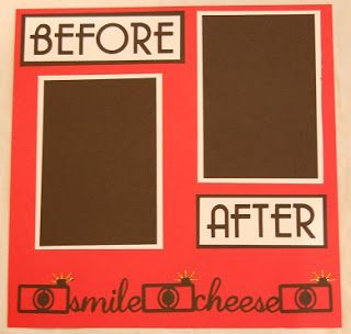I used my cricut to help my friend put this Before and After page together for her friend's Shot Album.