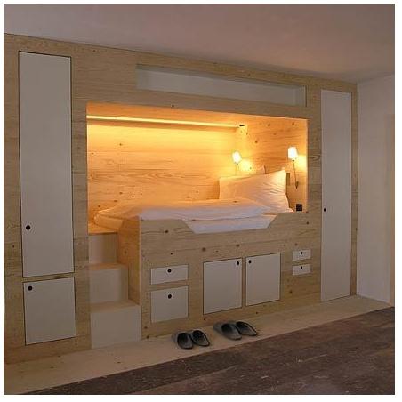 elevated alcove with closed storage chambre d 39 ado pinterest alc ve maison et lit. Black Bedroom Furniture Sets. Home Design Ideas