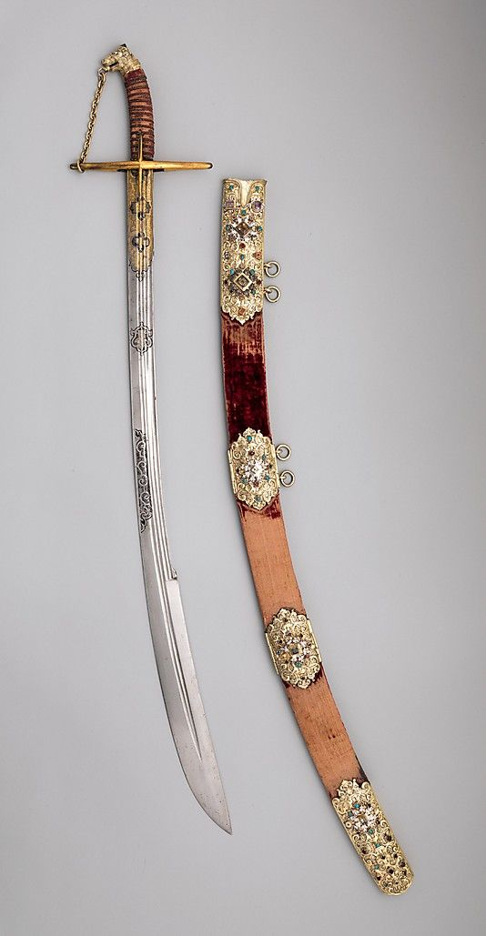 Saber with Scabbard and Carrying Belt, early 17th century. Polish. The Metropolitan Museum of Art, New York. Bashford Dean Memorial Collection, Funds from various donors, 1929 (29.158.716a, b)   This is one of a series of twelve jeweled sabers made in Hungarian style for use at the Saxon court in Dresden. #sword