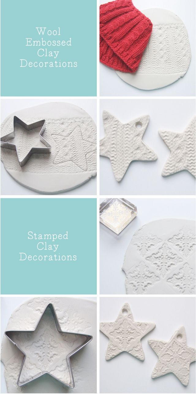 My love affair with all things clay continues with these embossed clay stars. I can't get enough of this air drying clay. I used it to make these stamped clay magnets and again when I made these faceted clay tea lights. With christmas only a few weeks away clay tree decorations seemed like the best thing to make next.