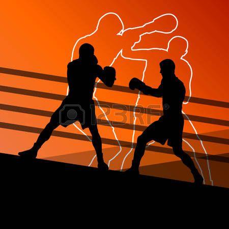 Бокс активно окно молодые люди спортивные силуэты фон векторные иллюстрации photo