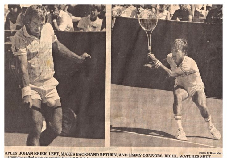 #throwbackthursday #tbt March 1985: Johan Kriek vs Jimmy Connors at the Paine Webber Classic in Florida. Besides playing against Connors on the ATP Tour, Johan Kriek spent 9 years traveling with Connors, Borg and McEnroe on the senior tour where Johan reached the number 1 ranking in both singles and doubles #johankriek #kriek #connors #borg #mcenroe #atp #atptour #tennis