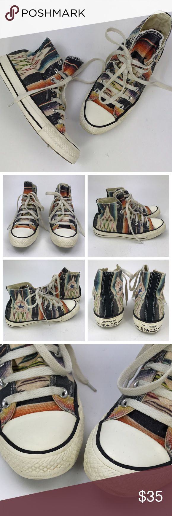 [Converse] Southwest Tribal High Top Chuck Taylors Classic Convere Chuck Taylor All Stars. High top. Lace up. Southwest inspired Ikat pattern. Unisex. Women's size 7. Men's size 5.  Condition: Good pre-owned condition. Some marks/stains on rubber parts. Converse Shoes Sneakers