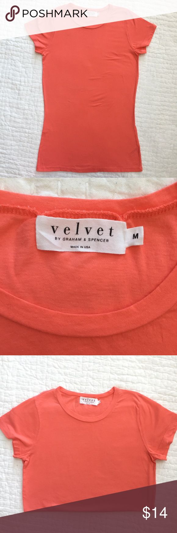Velvet Tee by Graham & Spencer. Size M Velvet Tee by Graham & Spencer. Size M. Excellent condition. Retail : $65 Coral color Velvet Tops Tees - Short Sleeve