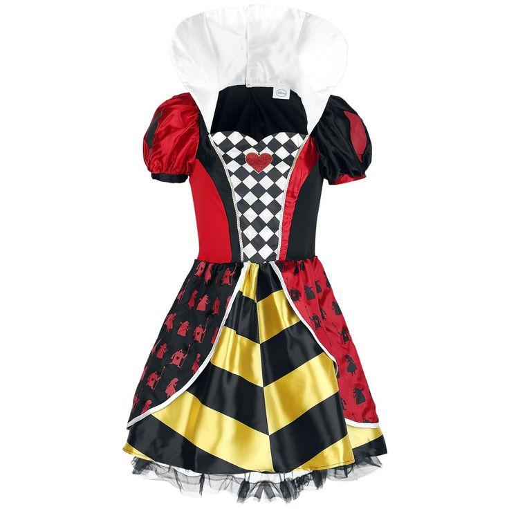 Alice im Wunderland - Queen of Hearts  - beinhaltet: Kleid und Haarkamm mit befestigter Stoffkrone - rot-schwarzes Minikleid für Erwachsene mit Puffärmeln und schwarzweiß Kariertem Brusteinsatz - gelb-schwarz gestreifter Rock mit Tüllrand und an der Hüfte angenähten roten und schwarzen Schößchen - Klettverschlüsse auf der Rückseite des Kleides - weißer Stehkragen, der durch Klettverschlüsse in der Mitte auch runtergeklappt werden kann  Es ist das perfekte Party-Outfit: Als Queen of Hearts…