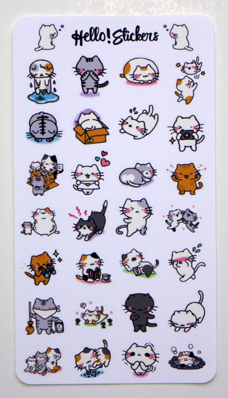 Small Kawaii Cats! by hellostickers on Etsy