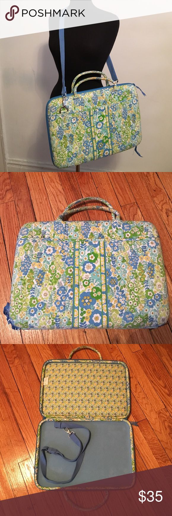 Vera Bradley Laptop Bag 16 by 11 inches; no tear, rips or stains; visible wear to hand strap, as pictured Vera Bradley Bags Laptop Bags