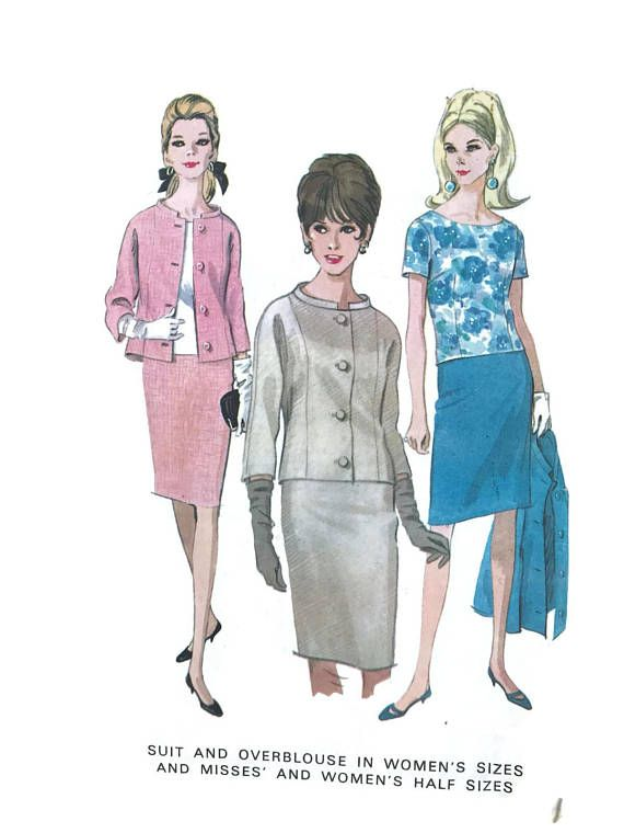 4fbb3c0472 Vintage 60s McCalls Plus Size Sewing Pattern Suit and OverBlouse ...