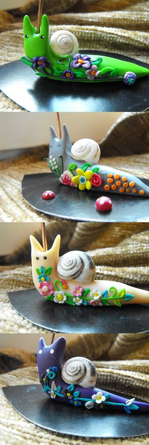 Photo holders snails colored