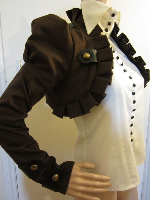 Brown Long sleeves pirate steampunk  bolero jacket