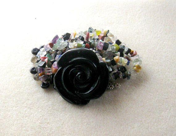 Blackstone Rose Pendant  Glass Beads DIY Jewelry Kit