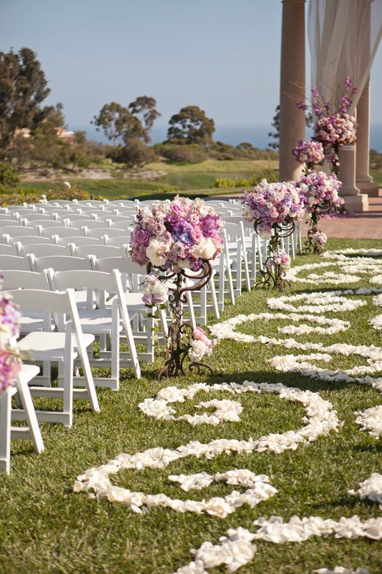 purple Wedding aisle flower décor, wedding ceremony flowers, pew flowers, wedding flowers, add pic source on comment and we will update it. www.myfloweraffair.com can create this beautiful wedding flower look.