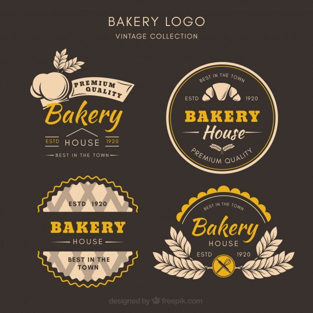 Bakery Corporate Identity Logo Template:  Bakery Logos Collection In Vintage Style Free Vector
