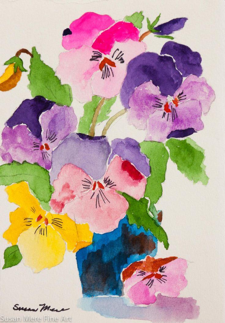 Original Watercolor by Susan Marie Fairclough, Blue Pot, Unmatted 5X7