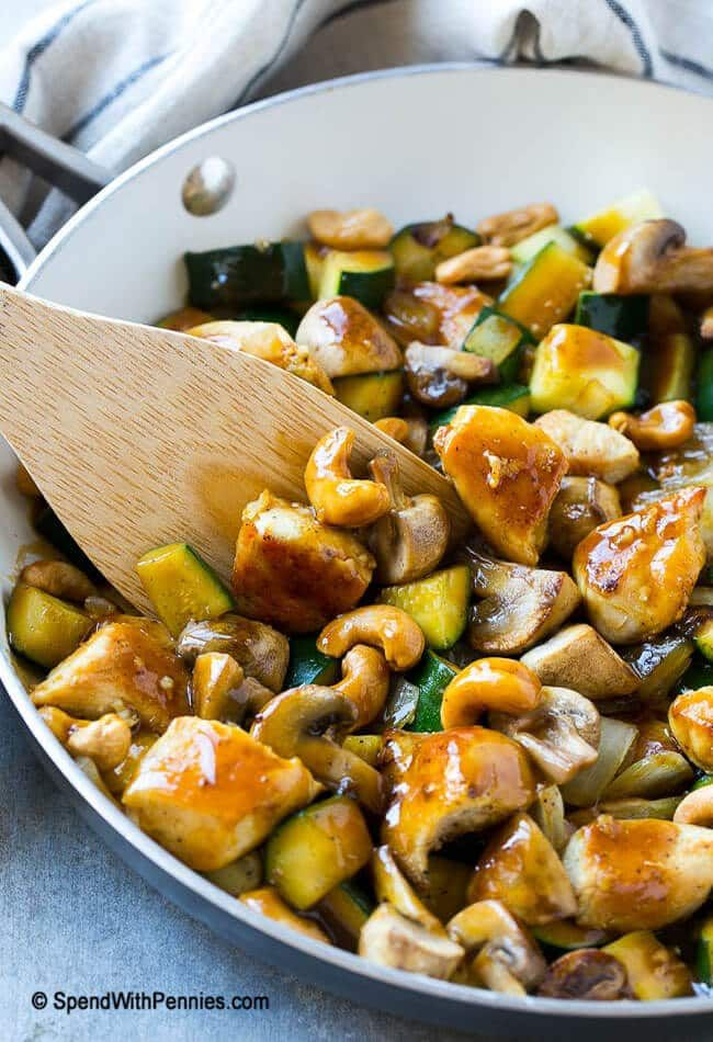 This cashew chicken stir fry is full of sauteed chicken, veggies and crunchy cashews, all coated in a simple savory sauce. No need to order take out when you can make your own at home! © SpendWithPennies.com Cashew Chicken Stir Fry Love it? Pin it to your DINNER BOARD to SAVE it! Follow Spend WithContinue Reading...