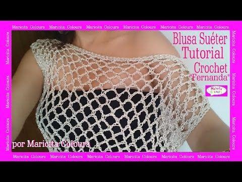 "BLUSA Jersey Suéter ""Fernanda"" por Maricita Colours Tutorial Gratis Hombro caído - YouTube"