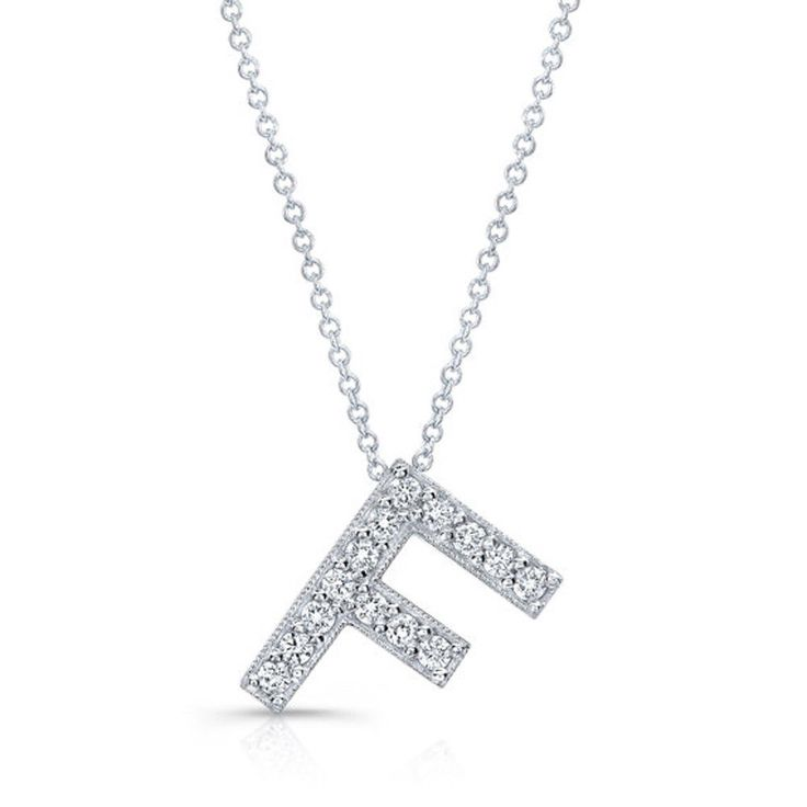Certified 0.28Ct Diamond Solid 14K White Gold Letter F Initial Pendant Necklace #diamondberry8 #Pendant