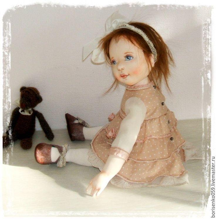 Купить Кукла текстильная - кремовый, нежная, текстильная, болтушка, подарок, кукла, лариса борисенко, бязь