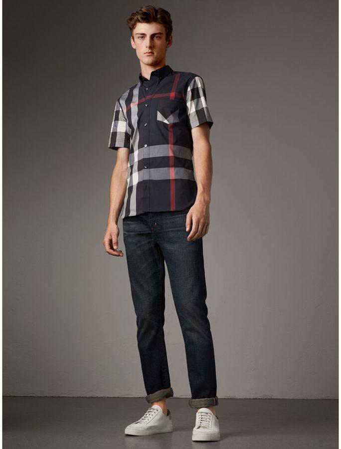 Burberry Short-sleeve Check Stretch Cotton Blend Shirt  ad  c7983dd821