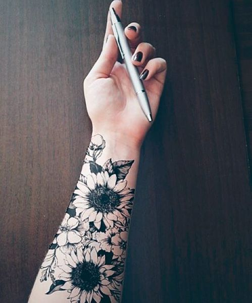 Cutest Sunflower Forearm Tattoo Design