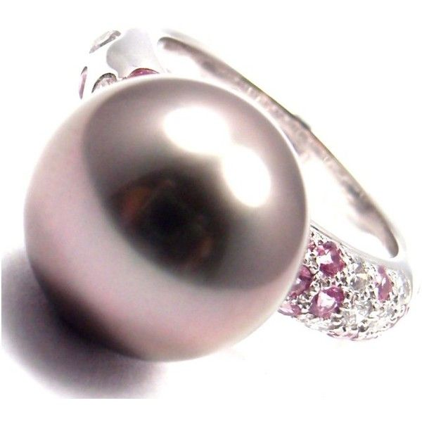 Pre-owned Cartier 18K White Gold Tahitian Pearl Diamond Pink Sapphire... ($3,610) ❤ liked on Polyvore featuring jewelry, rings, white gold rings, cartier ring, 18k ring, pink sapphire ring and diamond jewelry