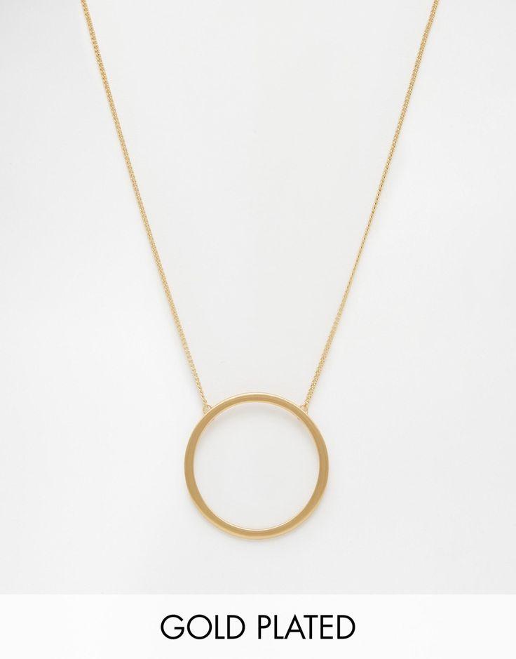Pilgrim Gold Large Open Circle Long Pendant Necklace