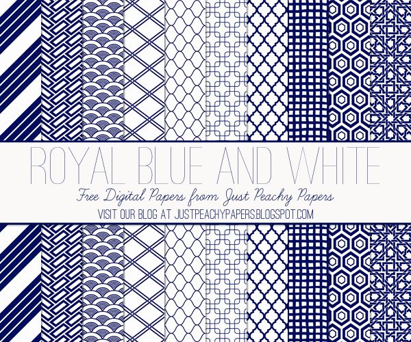 Just Peachy Papers: Free Royal Blue and White Digital Paper Set