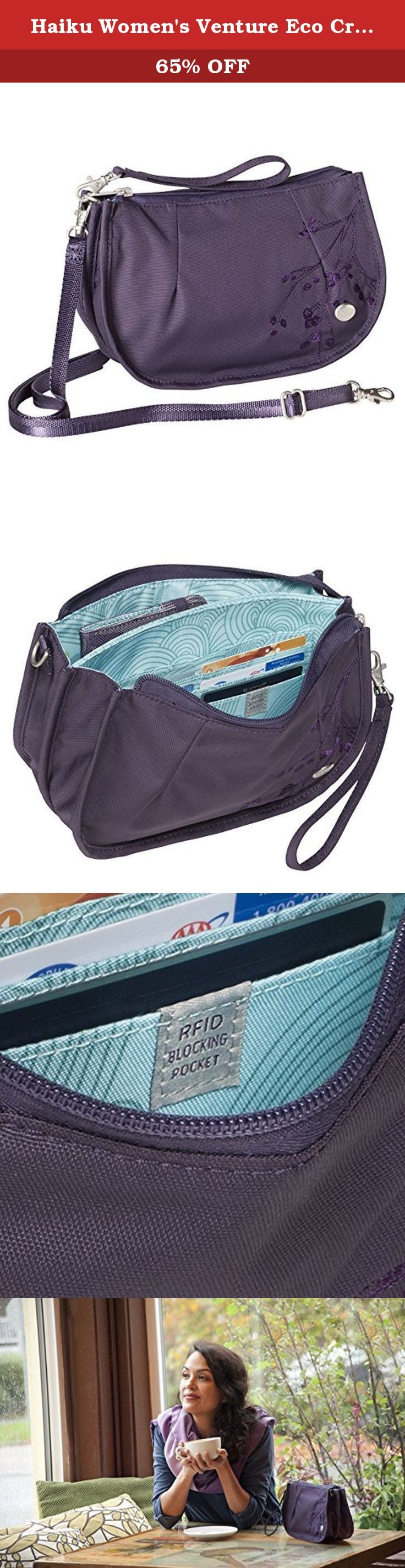 Haiku Women's Venture Eco Crossbody Bag, Amethyst. Think of it as a clutch-plus. On light outings, the venture carries your phone, cards and cash. Other times it becomes the perfect small purse, with folio-style dividers for your sunglasses, wrist warmers, and even a small notebook. Structural piping allows it to sit upright while claiming minimal table space at the cafe. An RFID-blocking card pocket and a security-locking zipper make it ideal for travel as well.
