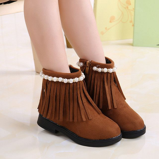 Girls Fringe + Pearl Ankle Boots (more colors available)