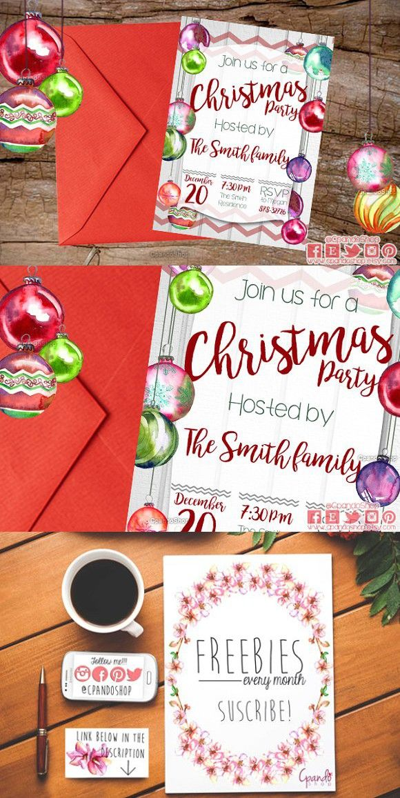 Christmas dinner invitation template. Invitation Templates. $20.00