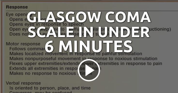 Glasgow Coma Scale in Under 6 Minutes --- Emergency Medical Counsel presents a very simple way to remember the Glasgow Coma Scale, a neurological scale to give a reliable and objective way of recording the conscious state of a client.