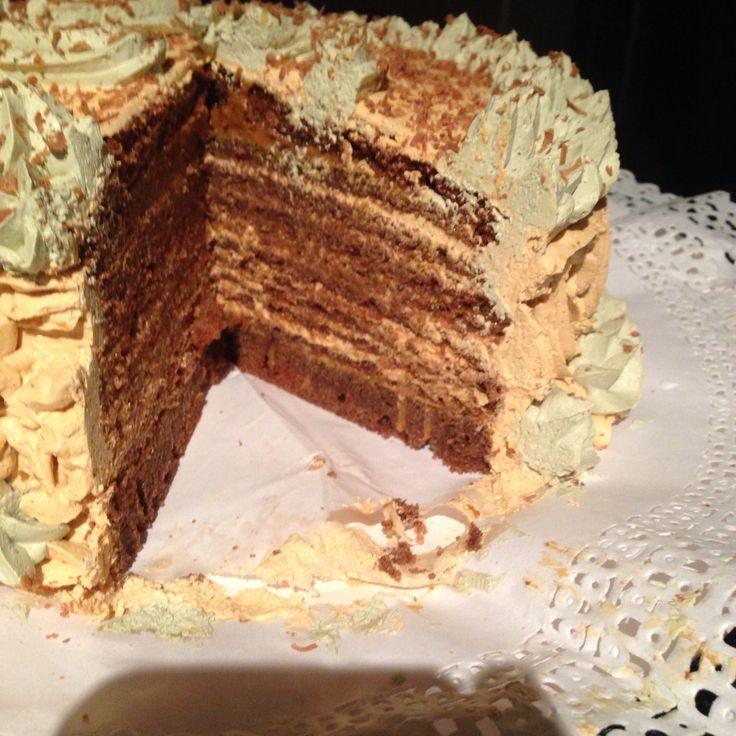 Torta panqueque chocolate mousse de manjar ❤️