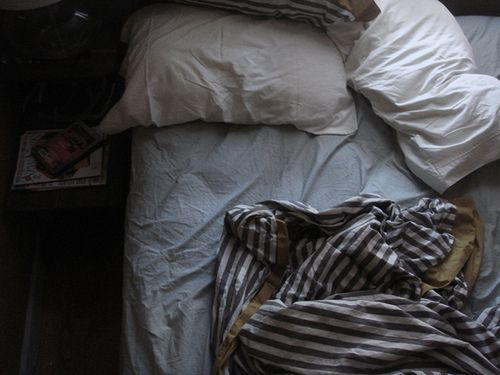 messy morning bed by kate / for me, for you, via Flickr