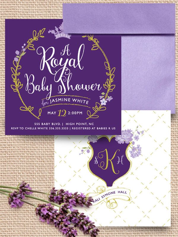 invitation customizable diy baby shower girl purple gold