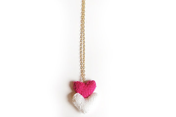 Pink and White Knitted Heart Pendant by blessyourcottonsocks on Etsy, $25.00