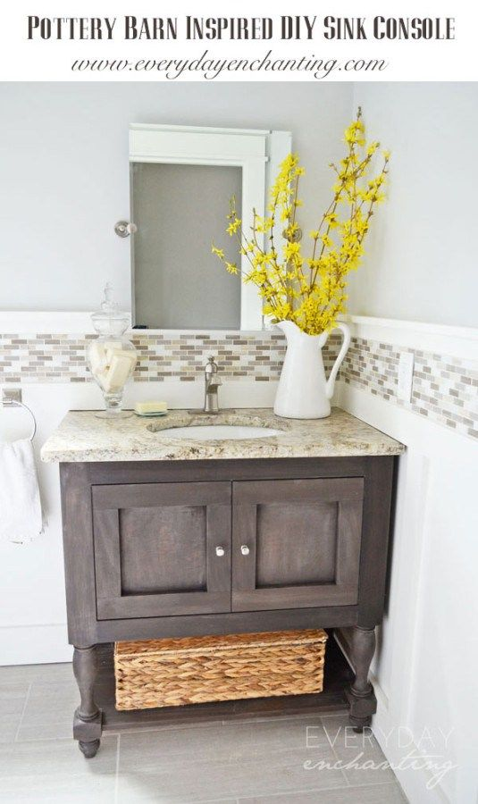 diy pottery barn inspired sink console vanity tutorial