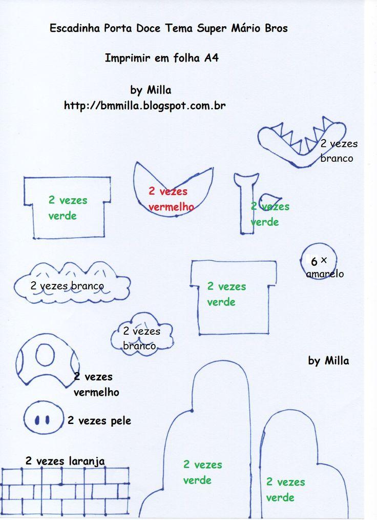 Eu Amo Artesanato: Escada porta docinhos do Mário Bros com molde