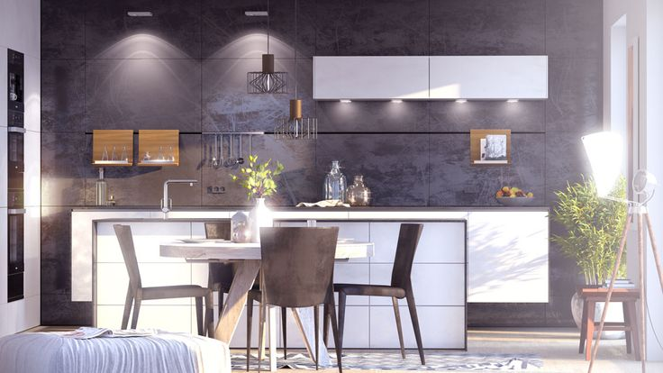 interior 3D rendering, kitchen
