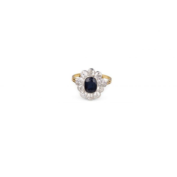 ZG64 18ct Yellow Gold Victorian Sapphire And Diamond Cluster Ring