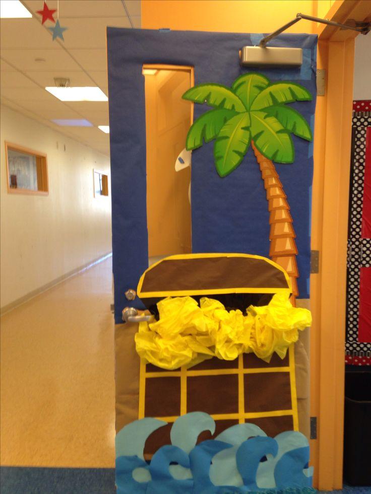 Pirate and treasure themed classroom door.