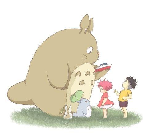 The Totoros meet Ponyo and Sosuke :)